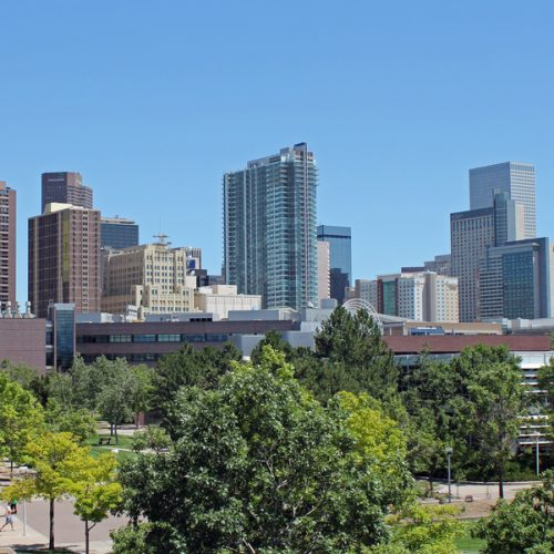 university of colorado denver campus on a summer day