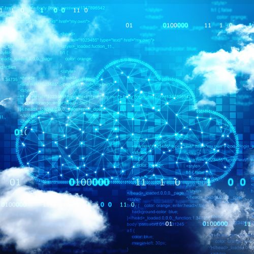 Cloud network in abstract technology background.